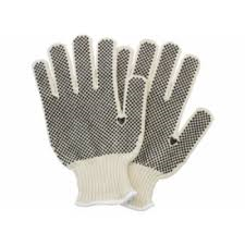Poly/Cotton, dotted, String Knit Glove – large