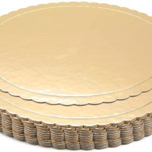 8″ Round Scalloped Gold Cake Board (241189)